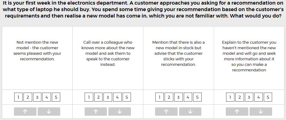 Cubiks Situational Judgement Test (SJT) Sample Question