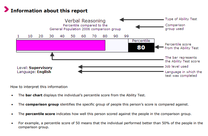 Example of an SHL test report
