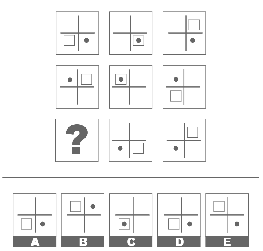 Example of a spatial reasoning question with matrices